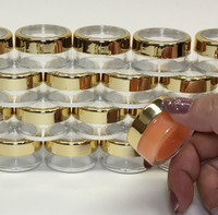Cosmetic Jars Plastic Beauty Containers  - 10 Gram (Gold Trim / Silver Trim Acrylic Window Caps)