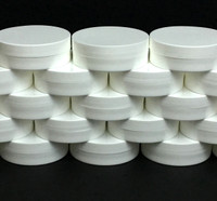 Plastic Cosmetic Containers Straight Edge Low Profile Wide Mouth White Jars - 1 oz.  (Unlined White Lid)