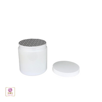 Plastic PET Jars Straight Sided Cosmetic Beauty Containers & Seal 8 oz. (White / Black Cap) • 9343 / 9344
