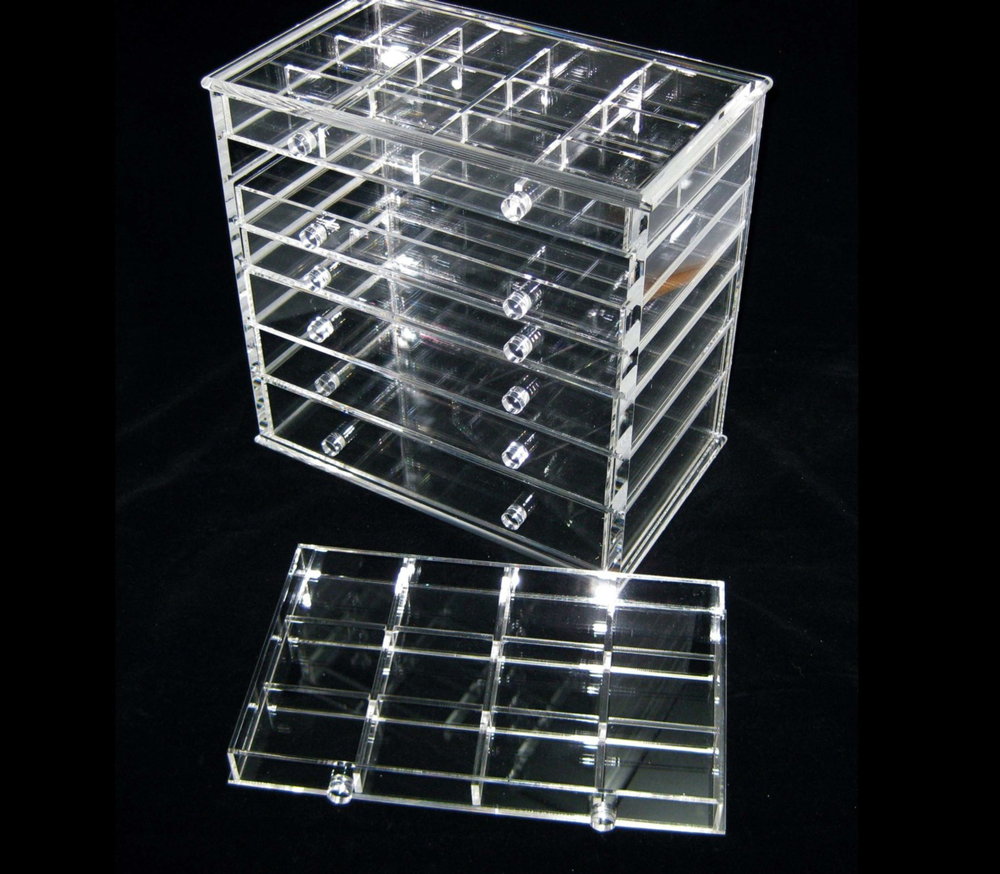 Acrylic Cosmetic Jewelry Organizer Luxury 7 Drawer Table Top Style