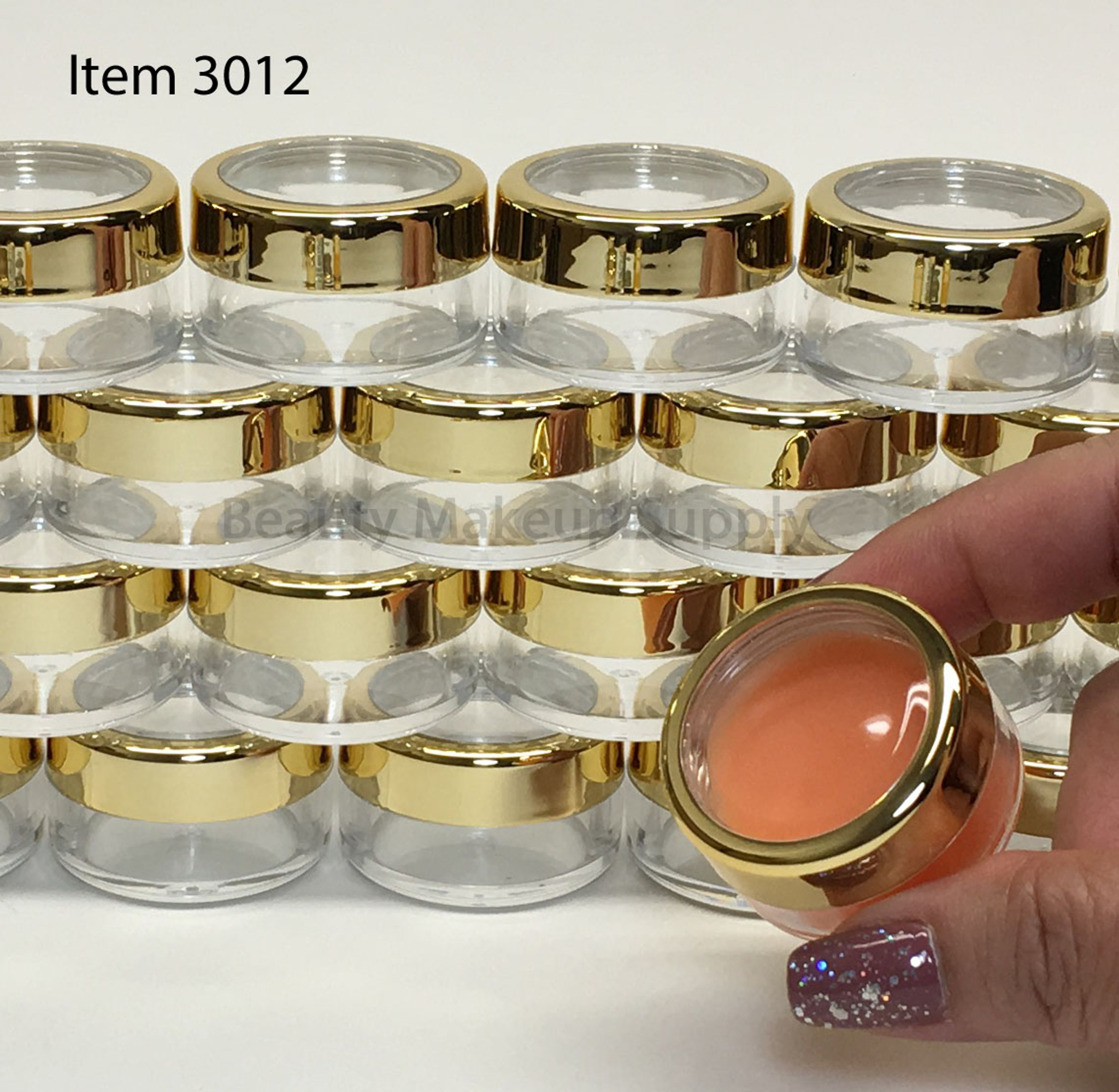 Luxury Cosmetic Round Jars with Gold Trim Caps - New Product at Beauty Makeup Supply