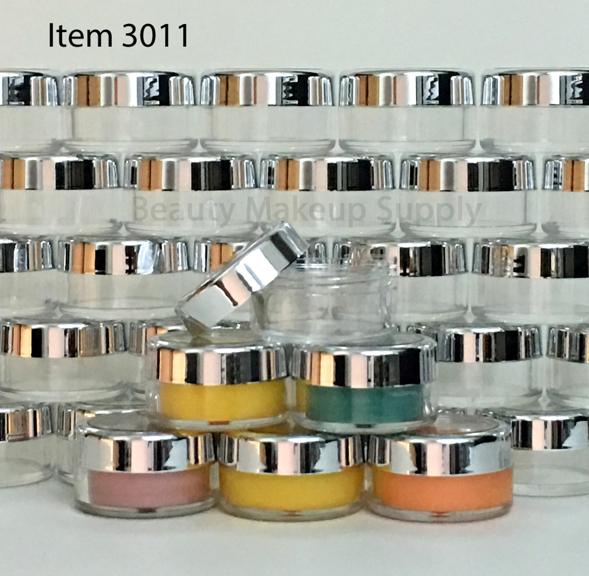 Luxury Cosmetic Round Jars with Silver Trim Caps - New Product at Beauty Makeup Supply