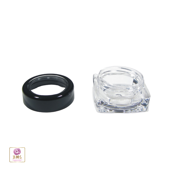 Cosmetic Jars Thick Wall Square Beauty Containers - 5 Ml (Black Trim Acrylic Window Lid) • 3039