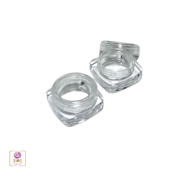 Cosmetic Jars Thick Wall Square Beauty Containers - 5 Ml  (Clear / White / Black Cap)