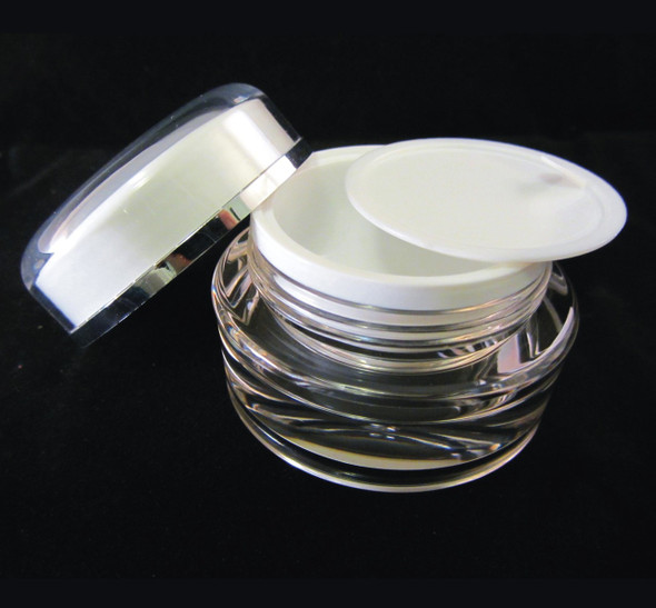 Acrylic Cream Jars Cosmetic Beauty Containers  w/ Sealing Disc 15ml • 3115
