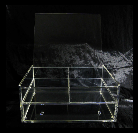 Large Deluxe Cube Acrylic Expandable & Stackable Beauty Organizers with Flip Top • 5660