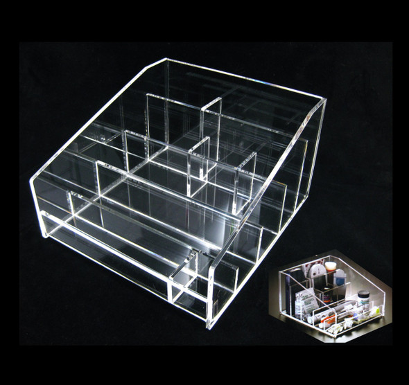 Acrylic Diabetic Testing Instrument & Supplies Storage Tray Organizers • 5671