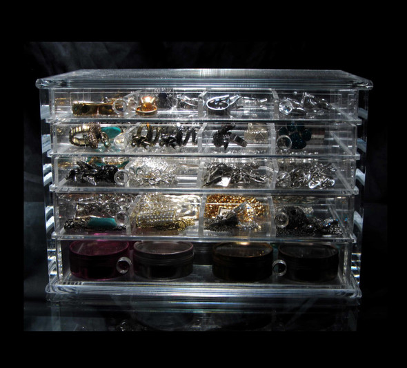 Luxury Acrylic 5-Drawer Jewelry Storage Organizer Box • 5692