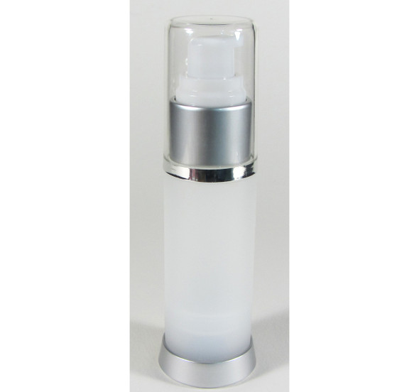 Airless Bottle with Pump & Overcap Lotion Serum Treatment Refillable Bottles - 30 ml / 1 oz. (Frost) • 5018