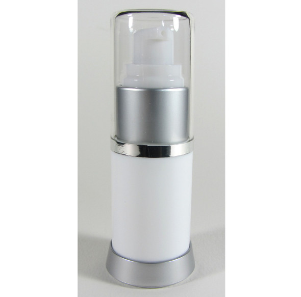 Airless Bottle with Pump & Cap Lotion Serum Refillable Facial Treatment Bottles - 15 ml / 0.5 oz. (White) • 5049