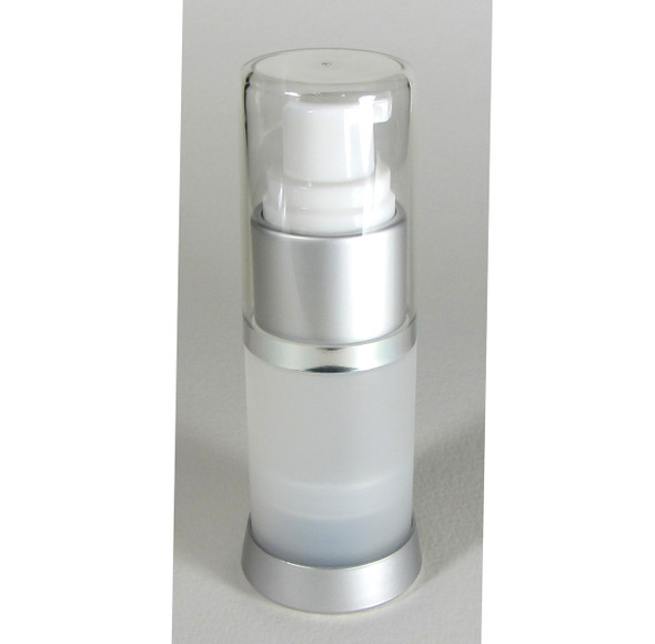 Airless Pump Bottles Lotion Facial Treatment Refillable Bottle Packaging - 15 ml / 0.5 oz. (Frost) • 5012
