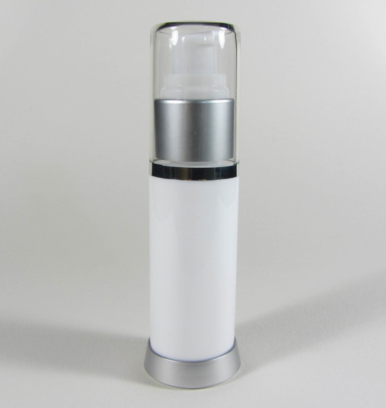 Airless Pump Lotion Serum Treatment Refillable Bottles - 30 ml / 1 oz. (White) • 5053