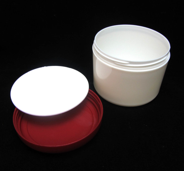 Plastic Jars Beauty Containers - 7.5 oz.  (Pearl White Body w/ Red Cap) • 9325