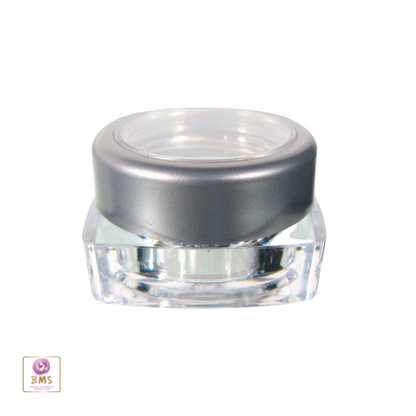 Cosmetic Jars Thick Wall Square Beauty Containers - 5 Ml (Silver Trim Window Lid) • 3033