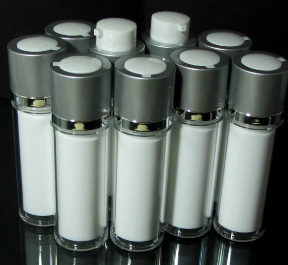 Airless Twist Up Pump Serum Acrylic Bottles - 30 ml / 1 oz. (White) • 3530