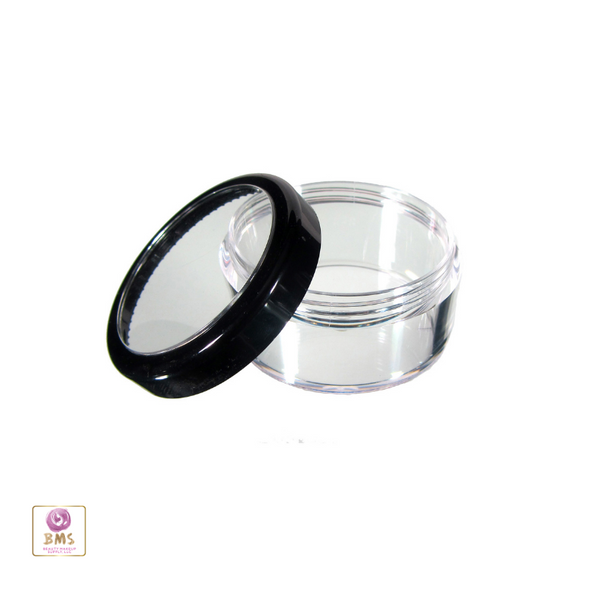 Cosmetic Jars Plastic Beauty Containers - 30 Gram (Black Trim / Gold Trim Acrylic Window Lid) • 3030