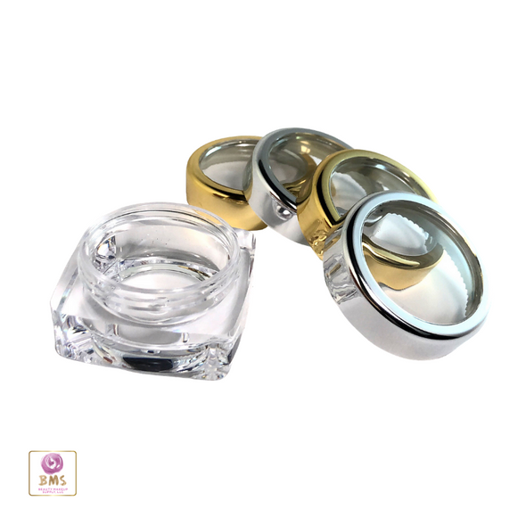 Cosmetic Jars Thick Wall Square Beauty Containers - 10 Ml (Gold Trim / Silver Trim) • 3082 / 3081
