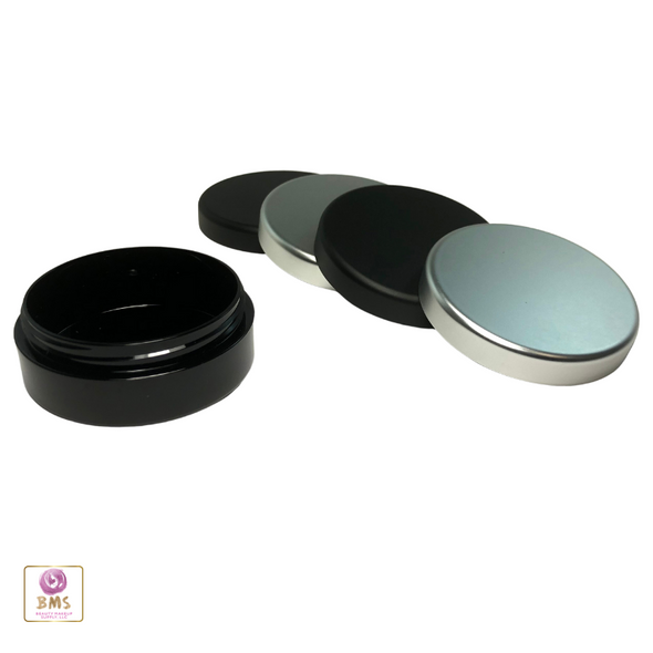 20 Gram Cosmetic Jars Plastic Black Beauty Containers with Matte Black and Silver Lid