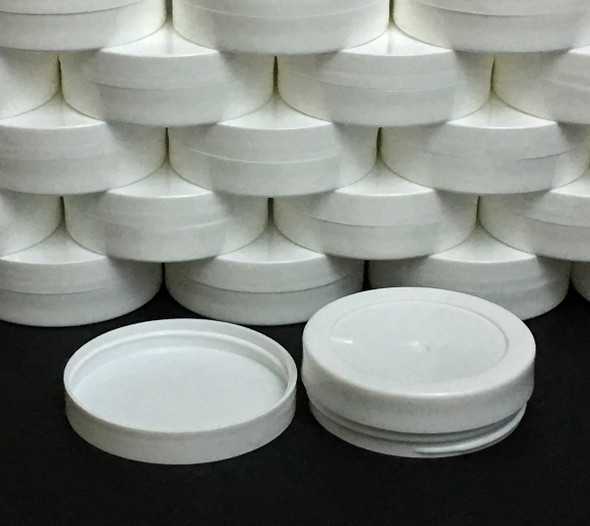 Plastic Cosmetic Containers Low Profile Wide Mouth White Jars with Lids 1 oz. • 9352