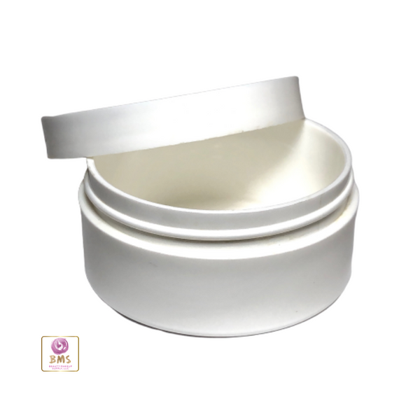 Plastic Jars Low Profile Wide Mouth Thick Wall White Containers - 2 oz.  (White / Black Cap) • 9332 / 9335