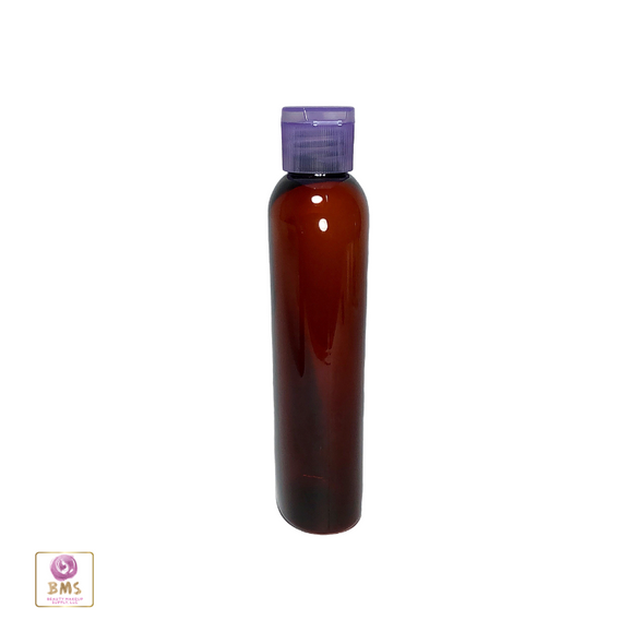 Plastic Bottles PET Cosmo Oval Bottles Purple Snap Close Flip Top 4 oz. (Amber) • 9754FP