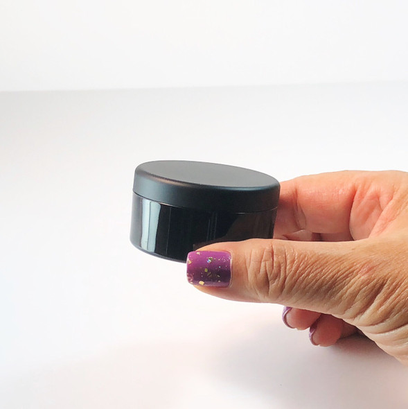 Cosmetic Jars Plastic Black Beauty Containers with Lids - 30 Gram (Matte Black / Silver Lid)
