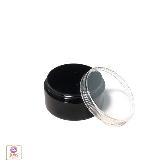 Cosmetic Sifter Jars Plastic Black Beauty Containers with Lids - 30 Gram (Black / Clear Lid)