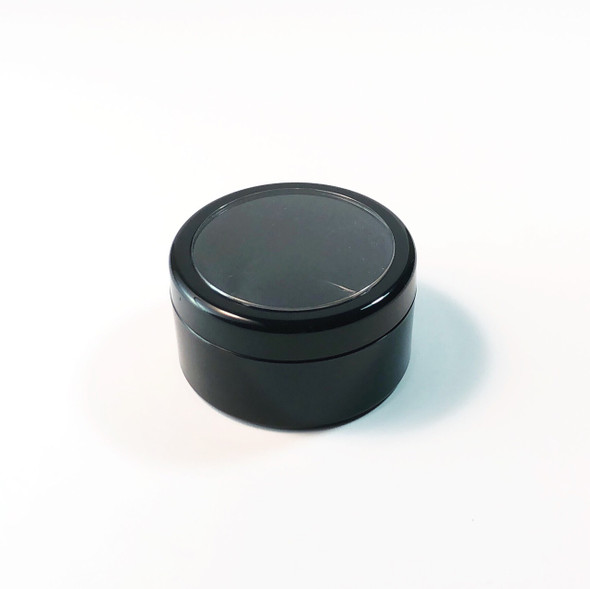 Cosmetic Jars Plastic Black Beauty Containers with Lids - 30 Gram(Black Trim / Gold Trim Acrylic Window Lid)
