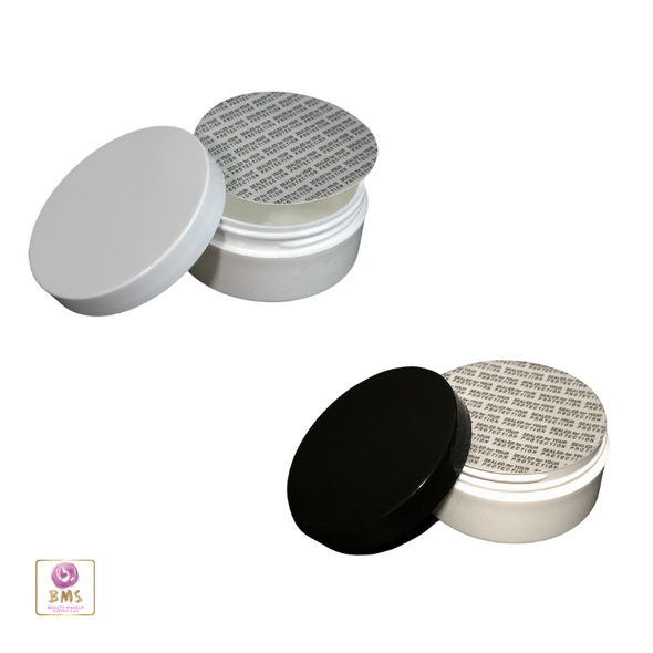 Plastic Jars Low Profile Wide Mouth Thick Wall White Containers - 2 oz.  (White / Black Cap w/ Pressure Sensitive Liners) • 9333 / 9334