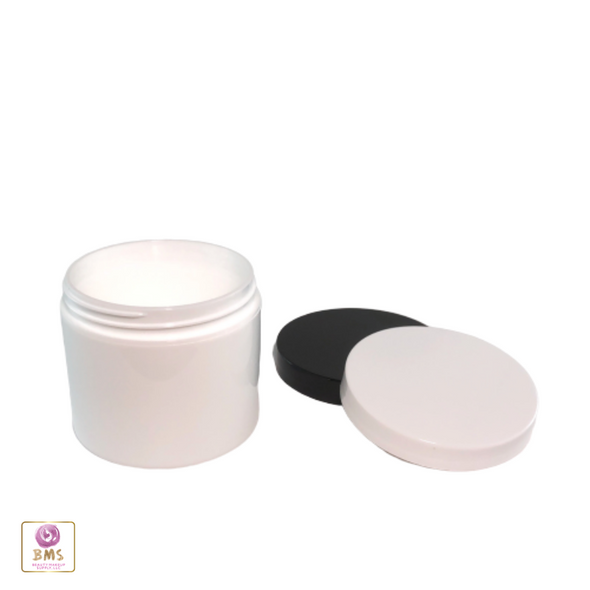 Plastic Jars White Double Wall Containers 4 oz.  (White / Black Cap) • 9311 / 9312
