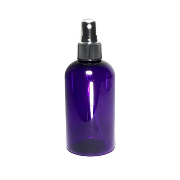 PET Boston Round Bottles w/ Black Fine Mist Sprayers - 8 oz (Purple) • 9718