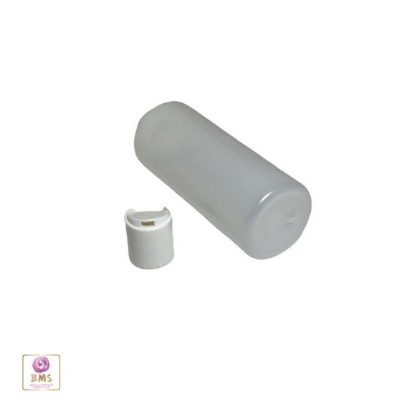 Plastic Bottles HDPE Cylinder Liquid Bottles Disc Top Cap - 4 oz. (Natural) • 9764DW