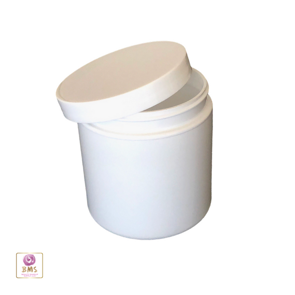 Plastic PET Jars Straight Sided Cosmetic Beauty Containers - 8 oz. (White / Black Cap) • 9341 / 9342