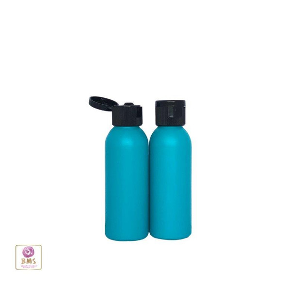 Plastic Bottles HDPE Refillable Bullet Bottles with Black Flip Top Caps 2 oz (Blue) • 9702FB