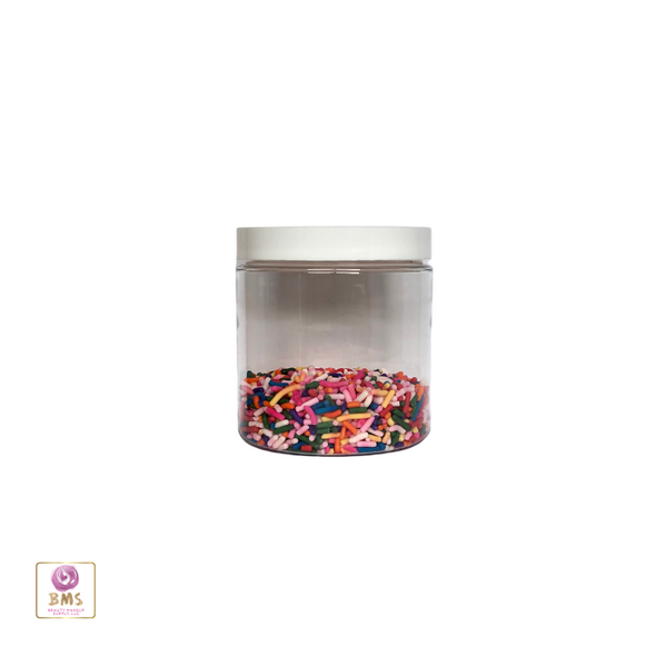 Plastic PET Jars Straight Sided Cosmetic Beauty Containers - 8 oz. (White / Black Cap) • 9361 / 9362