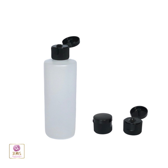Plastic Bottles HDPE Cylinder Liquid Bottles Flip Top Cap - 4 oz. (Natural) • 9764FB