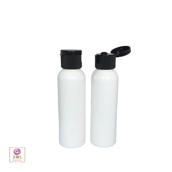 Plastic Bottles PET Refillable Cosmo Round Bottles with Flip Top Caps - 2 oz (White) 9772FB