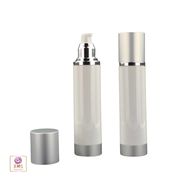 Airless Pump Bottles Refillable Lotion Serum Treatment Bottles - 130 ml (White) • 5073