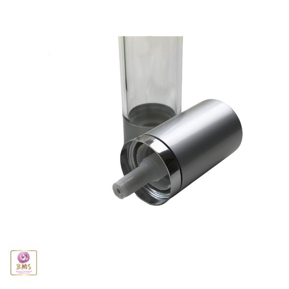 Airless Pump Bottles Silver Cap - 15 ml / 0.5 oz. (Clear) • 3415