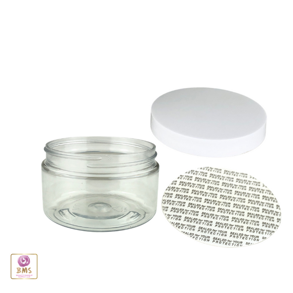 Clear Plastic Jars  w/ Pressure Sensitive Liners - 4 oz.  (White / Black) • 9373 / 9374