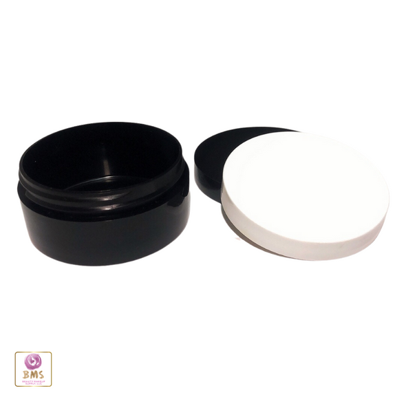 Plastic Jars Low Profile Thick Wall Black Containers - 2 oz.  (White / Black) • 9365 / 9366