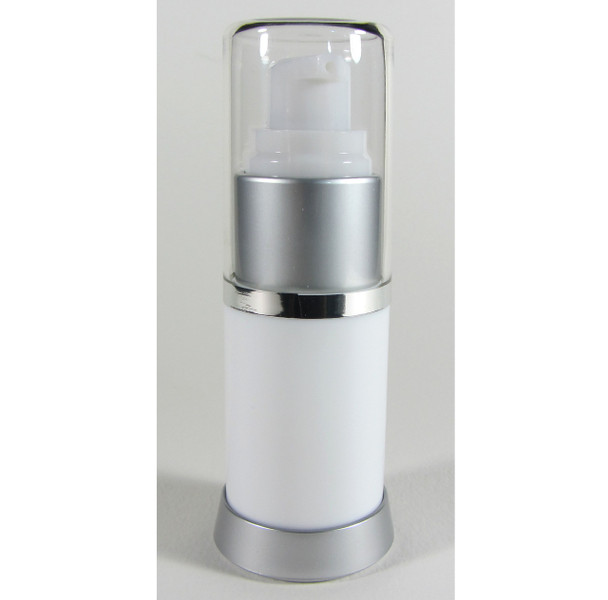 Airless Pump Bottles Refillable Beauty Packaging - 15 ml / 0.5 oz. (White) • 5049