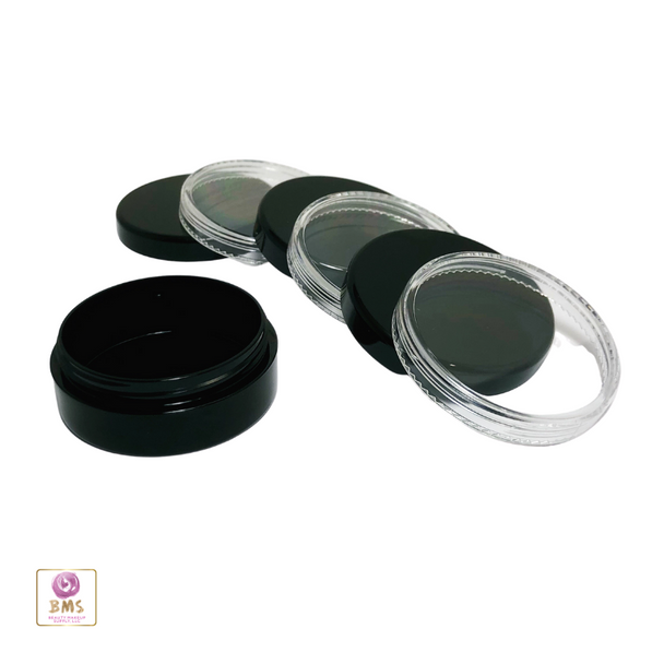 Cosmetic Jars Plastic Black Beauty Containers with Lids - 20 Gram (Black / Clear) • 3827 / 3828