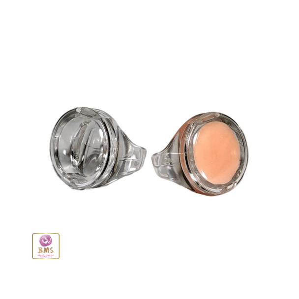 Lip Balm Ring Clear Plastic Hinged Flap Top • 9680