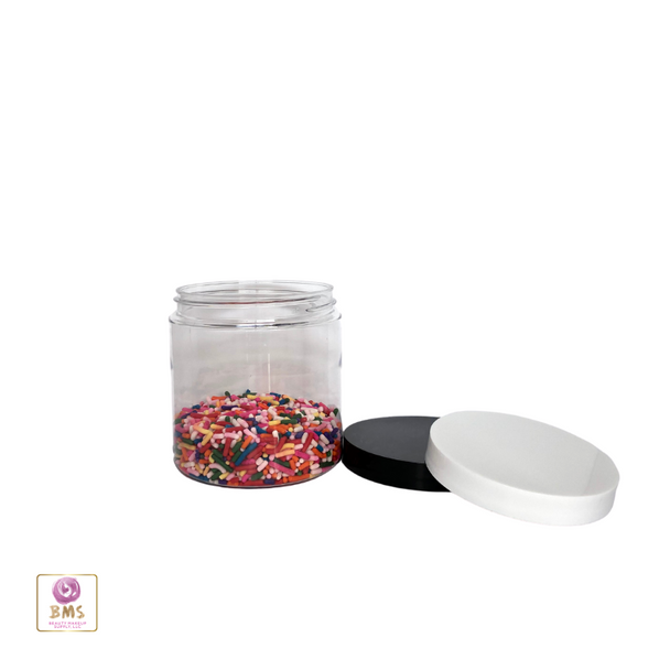 Plastic PET Jars Clear Cosmetic Beauty Containers - 8 oz. (White / Black Cap) • 9361 / 9362