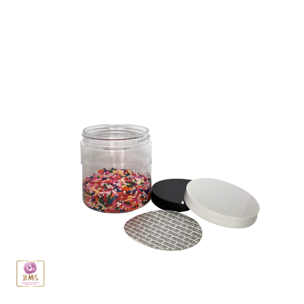 Plastic PET Jars Straight Sided Beauty Containers & Seal 8 oz. (White / Black Cap) • 9363 / 9364