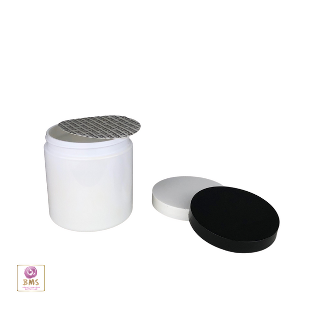 Plastic PET Jars Cosmetic Beauty Containers & Seal 8 oz. (White / Black Cap) • 9343 / 9344