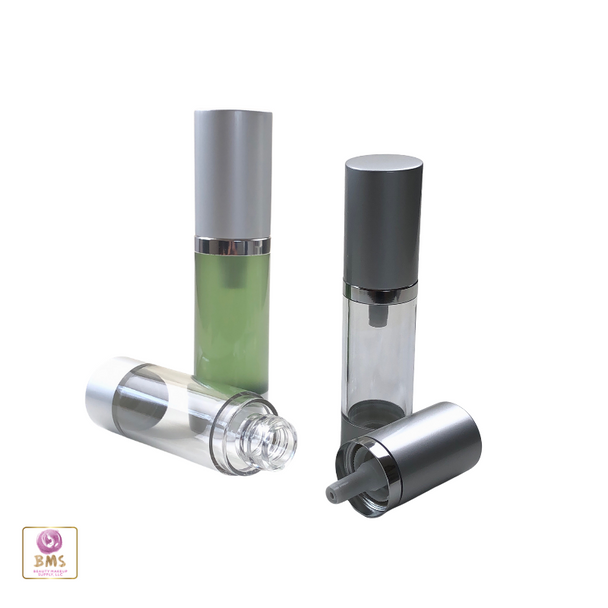 Airless Pump Bottles Silver Cap - 15 ml / 0.5 oz. (Clear) • 3415