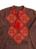 "Men's brown embroidered shirt ""Fiery Fields"""