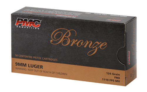 PMC Bronze 9mm Luger 124 gr Full Metal Jacket 50 Round Pistol Ammo